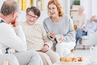 group of elderly smiling